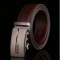 Pánský kožený opasek hnědý s automatickou přezkou