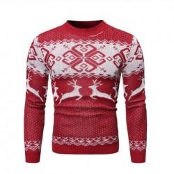 Pletený pánský zimní svetr vánoční červený