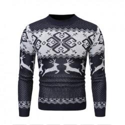 Pletený pánský zimní svetr vánoční modrý
