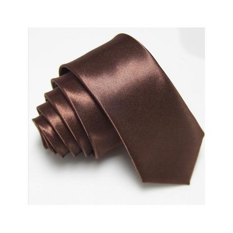 Úzká SLIM kravata hnědá - Wemay 1fe029ea71