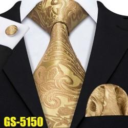 Darčeková sada Žltá kravata, vreckovka a manžetové gombíky