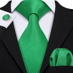Dárková sada zelená kravata, kapesníček a manžetové knoflíčky