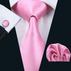 Dárková sada růžová kravata, kapesníček a manžetové knoflíčky